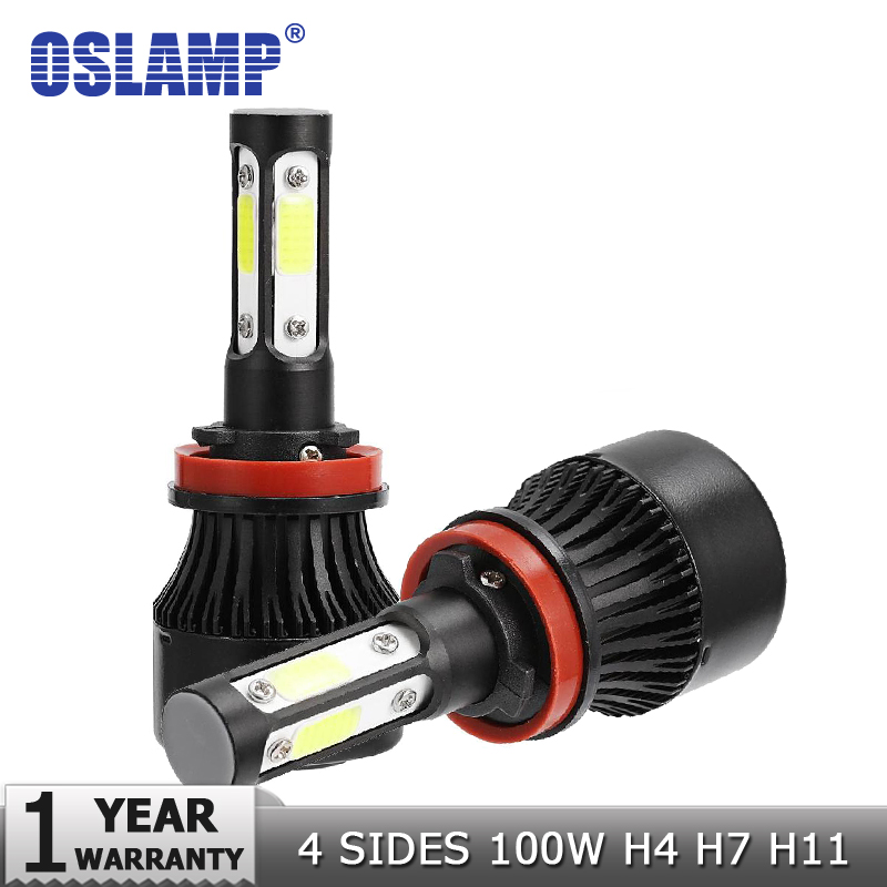 Oslamp New 4 Side Lumen COB 100W 10000lm H4 Hi lo H7 H11 9005 9006 Car LED Forlygtepærer Auto Led Forlygte LED-lys 12v 24v