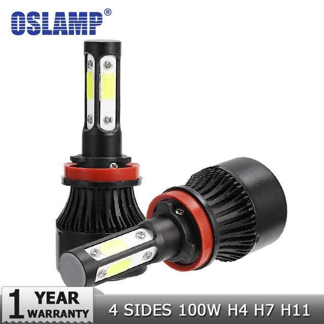 oslamp new 4 side lumens cob 100w 10000lm h4 hi lo h7 h11 9005 9006oslamp new 4 side lumens cob 100w 10000lm h4 hi lo h7 h11 9005 9006 car