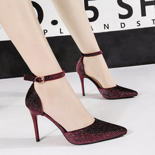 Dazzling striped flock sexy party wedding shoes zapatos de mujer gradient  bling hollow out stilettos · 4 Colors Available a81741d22df2