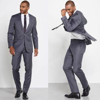 2017 Handmade Grey Men's Wedding Suits Groom Tuxedos Business Men Work Wear Formal Party Suits Blazer With Pants(Coat+Pants+bow)