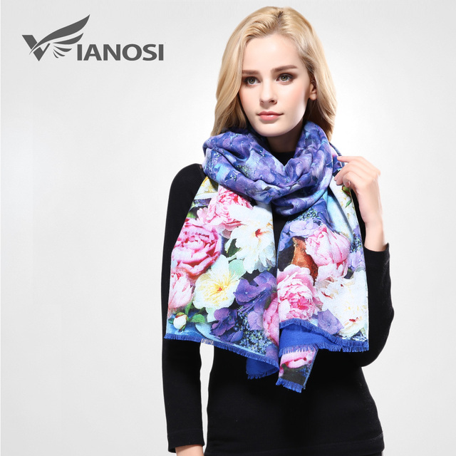 [VIANOSI]  Luxury Winter Scarf Woman Digital Printed Female Brand Soft Wool Cashmere Soft Shawl and Scarves For Women VA068
