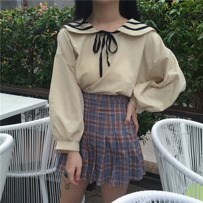 printemps automne marinière old school t-shirt femme tops noeud papillon lanterne manches tee shirt femme chemise chemisier camisa mujer fille