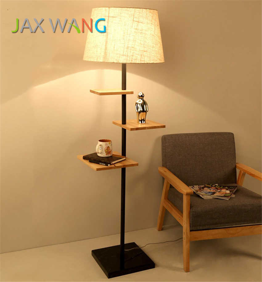 Led E27 Wooden Decorative Floor Lamp Modern Living Room Bedroom Study Standing Lamps White Fabric Light Decor