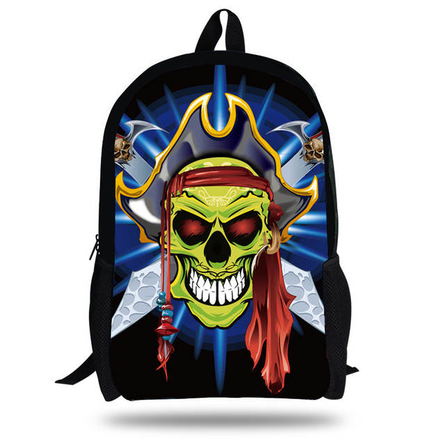 0e29c0b1aaa9 16-inch Mochila Skull Backpack School Kids Bags Boys Backpack Child Black  Skull Bag Pirates