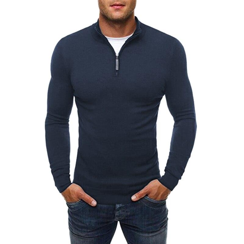 Sweater Winter Turtleneck Slim-Fit Knitted Long-Sleeve Zipper Autumn Male Men Fashion