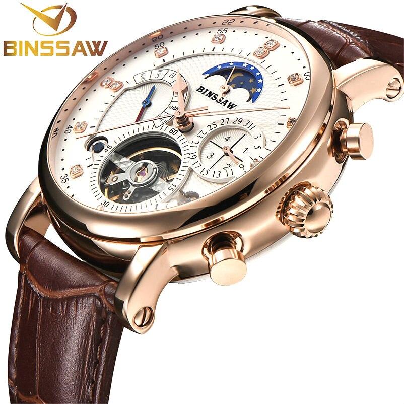 BINSSAW Для мужчин часы Механические тourbillon Роскошные модные брендовые кожаные мужские спортивные часы мужские автоматические часы Relogio Masculino