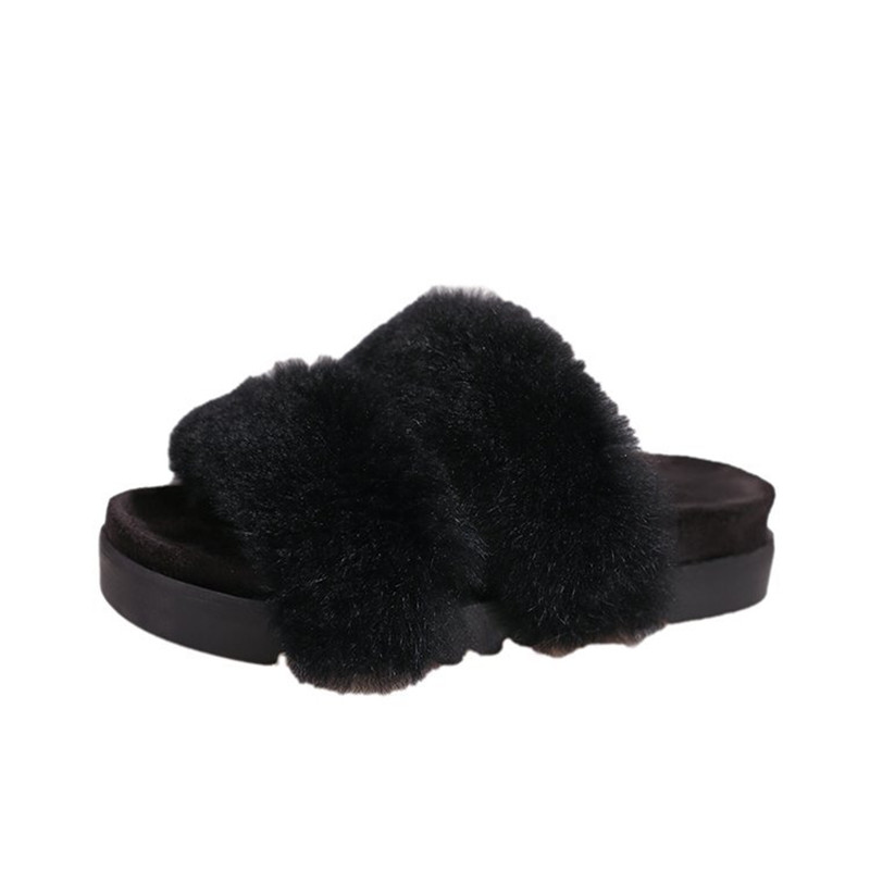 23dc2d9102142 Women Flips Flops 2018 Winter Warm Real Fur Shoes Woman Slippers Fashion  Platform Female Slides Shoes Woman Flat Slippers Women-in Slippers from  Shoes on ...