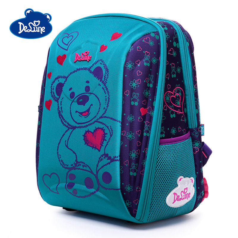 Delune Bear Car Pattern School Bags Children Orthopedic Backpack For Girls Boys Cartoon Backpacks Multi-pocket Mochila Infantil