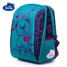 Delune Bear Car Pattern School Bags Children Orthopedic Backpack For Girls Boys Cartoon Backpacks Multi-pocket Mochila Infantil цены онлайн