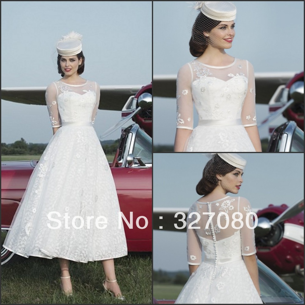 mid length white lace dress hot sale white ivory lace mid calf tea length half sleeve 8659