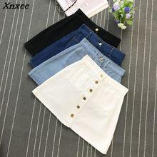 Ins 2018 summer Womens ladies A-line Jeans Skirt Button Denim small pockets Skirt harajuku mini Wrapover Jeans Skirt Xnxee skirt cross jeans skirt href