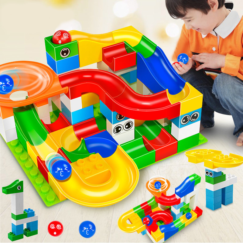 52pcs DIY Construction Marble Race Run Maze Balls Track Gaming Building Blocks Toys For Kids Children
