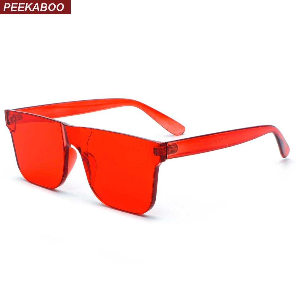 Peekaboo doces transparente óculos de sol das mulheres vermelho 2018 verão  azul rosa vermelha sem aro 44e4ce15f6