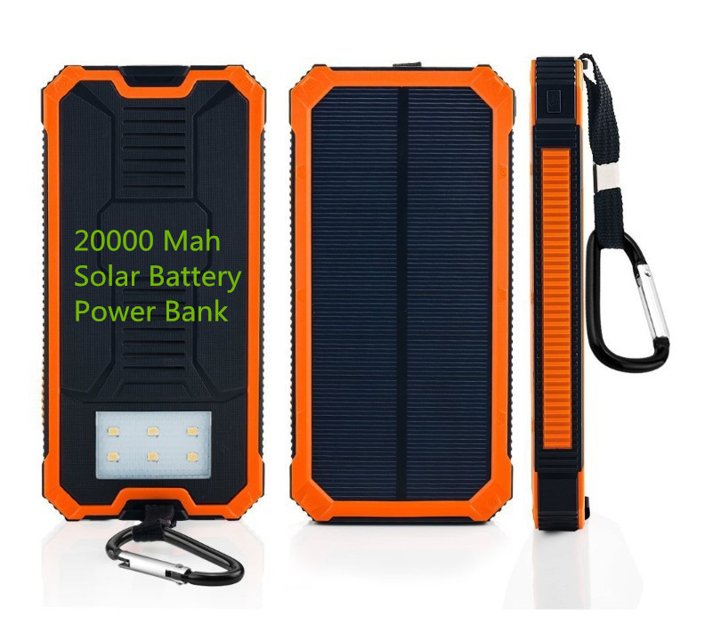 20000 Mah Dual Usb Portable Charger Solar Power Bank Travel External Battery Emergency Charger