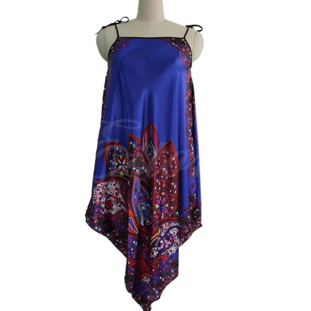 Arrive Women Sexy Nightgown Long Sleepwear Faux Silk Bath Robe Dress Chemise