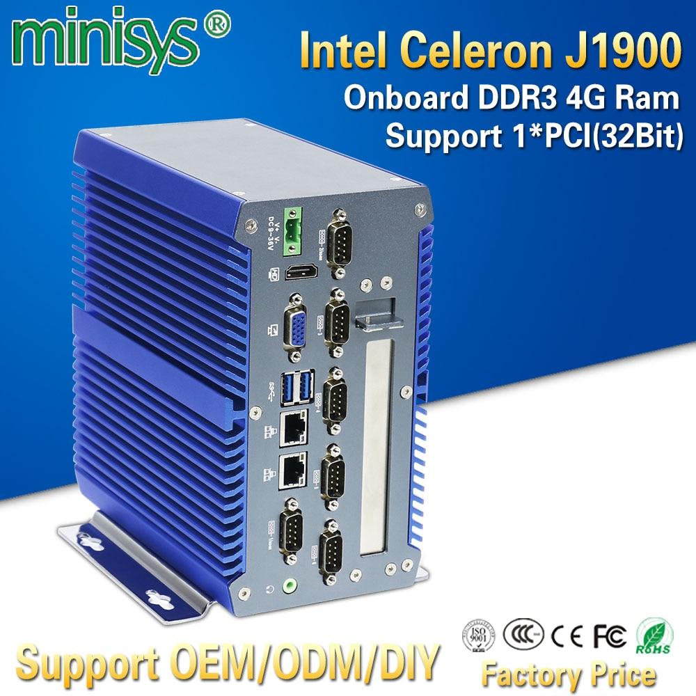 Minisys Smart Intel J1900 Quad Core Fanless Industrial Box Mini PC Onboard 4GB Ram Dual Lan Ubuntu Computers Support 1*32Bit PCI firefly rk3288 reload coreboard quad core a17 1 8ghz support ubuntu