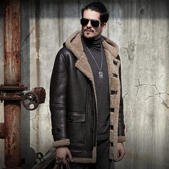 New Men Genuine Leather Fur Coat Men S Sheepskin Jacket Mid Length