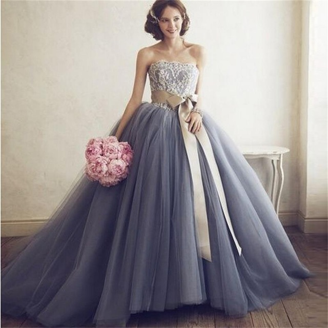 Custom ball gown grey wedding dresses 2016 strapless backless lace custom ball gown grey wedding dresses 2016 strapless backless lace sashes floor length tulle bridal gowns junglespirit Images