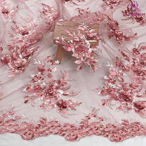 La Belleza new design lace rose pink 3D flowers lace fabric evening dress lace fabric 1 yard(China)