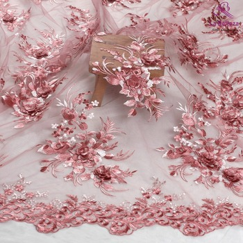 La Belleza gray lace,Light pink lace,Off white beautiful feather,pearls rhinestones crystal 3D flowers lace fabric by the yard