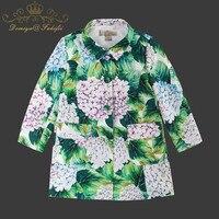 2018 осень зима куртки для девочек новое поступление Костюмы для с принтом для девочек Детская верхняя одежда детская одежда куртки с цветочн