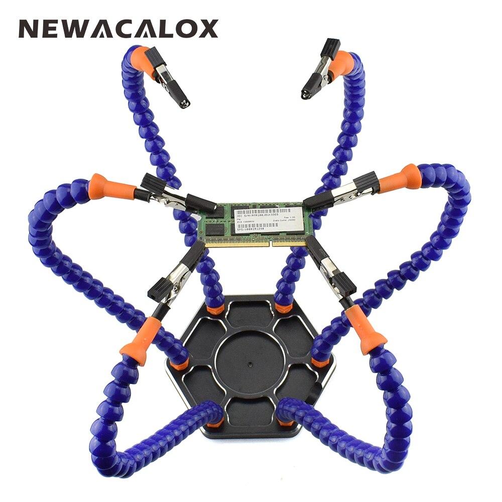 NEWACALOX Multi À Souder Helping Hands Troisième Main Outil avec 6 pcs Bras Flexibles pour PCB Bord À Souder Assemblée Station De Réparation