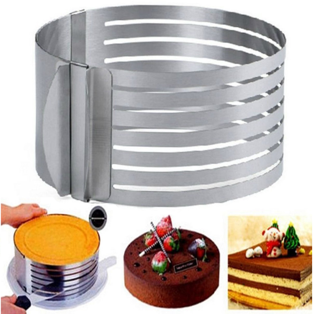 Adjustable Round Stainless Steel Pastry Tools Mousse Cake Ring Mold Layer Slicer Cutter DIY Cake Mold Backing Mold Cake Tools