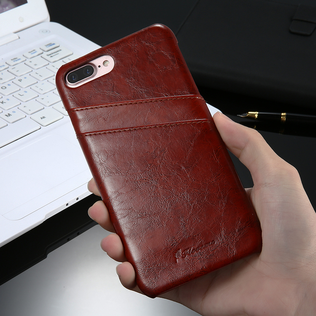 Superbe coque en cuir pour iPhone avec placement pour carte bancaire de marque Floveme