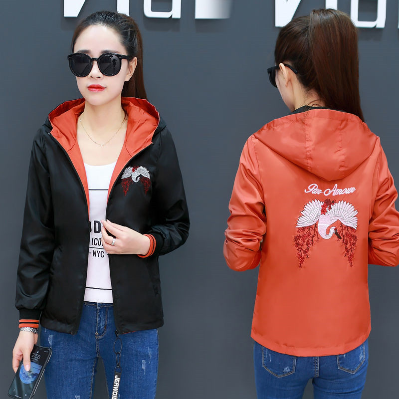 Women's embroidery hooded   jacket   Ladies Casual Reversible   Basic     Jackets   streetwear Zipper Lightweight bomber   jacket   women 4XL