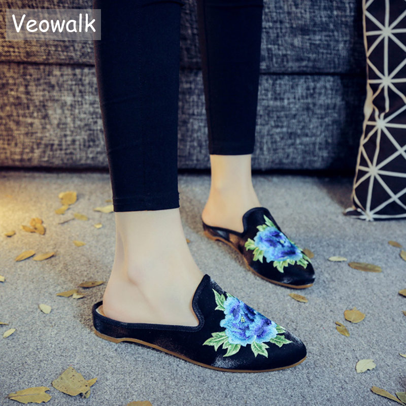 Veowalk Pointed Toe Women Cotton Fabric Flat Mules Slippers Floral Embroidered Summer Retro Elegant Ladies Comfort Slide Shoes pointed toe flat mules