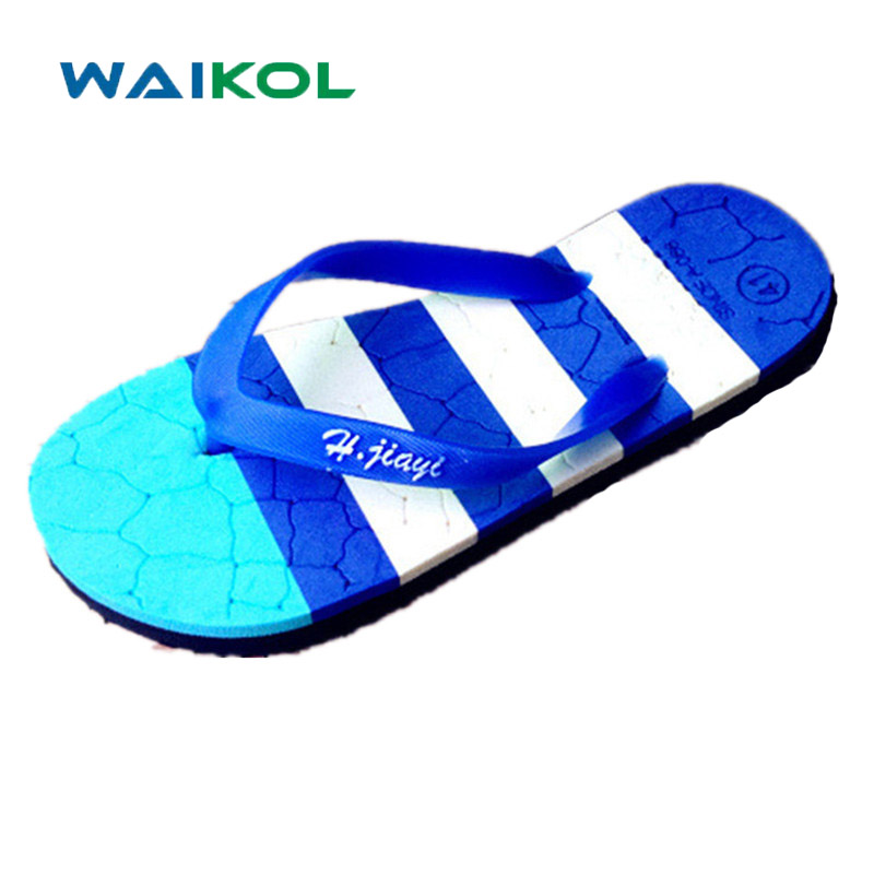 Waikol Hot Sale Summer EVA Shoes Flip Flops Men Sandals,Male Flat,Stripe Beach Slippers Black White Blue,Plus Size 40 - 44 цены онлайн