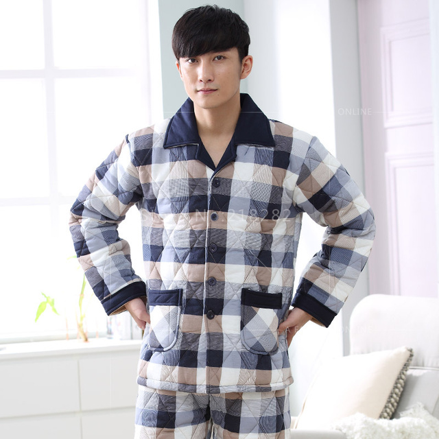 Pijamas de inverno dos homens do Algodão de Três camadas Espessamento Pijamas Seleção Qulited Casal Conjuntos de Pijama Plus Size 3XL Salão Dos Homens Sleepwear