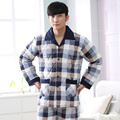 Winter Cotton Men's Pajamas Three layer Thickening Check Pyjamas Qulited Men Sleepwear Couple Pajama Sets Plus size 3XL Lounge