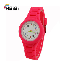 New Simple Casual Solid color Silicone strap Children's watch Girls Boys Clock Kids Watches Fashion Women Quartz Wristwatches