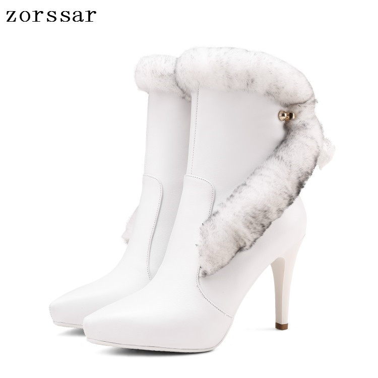 {Zorssar} 2019 Luxury brand Natural leather platform heels boots Women Ankle Boots High Heels Women Shoes Winter warm snow boots brand new suede leather women platform boots famous designer high heels dress shoes woman gladiator luxury women ankle boots
