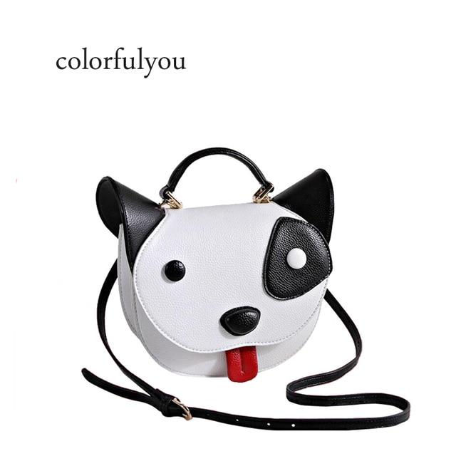 bb33d418e0e1a Nette schwarz und weiß Haustier hund Handtasche Frauen Cartoon Tier  Schulter Tasche Lustige Hund Kopf tote