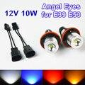 2 Peças (1 Conjunto) 2*5 W 10 W Bridgelux Chip De LED Marcador Angel Eyes Branco/Azul/Vermelho/Amarelo para E39 E53 E60 E61 E63 E64 FRETE GRÁTIS