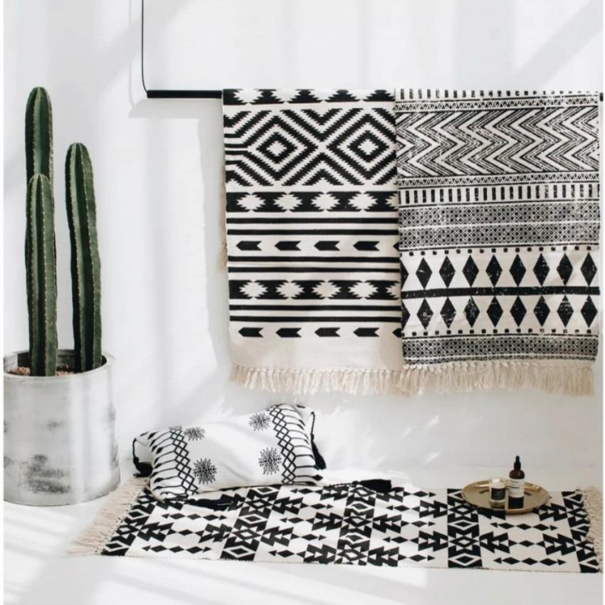 Style nordique multi-fonction géométrique tapis de sol pour la cuisine 60*90 cm, porte tapis, décoration de chevet tapis, tapis de bain en coton