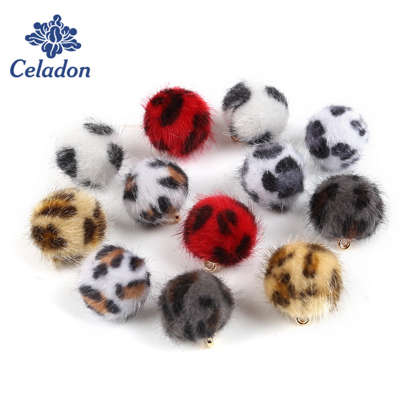 Hot Promotion! 10pcslot 15mm Leopard Print Fur Covered Ball Beads Earring Charms for DIY Jewelry Findings Making