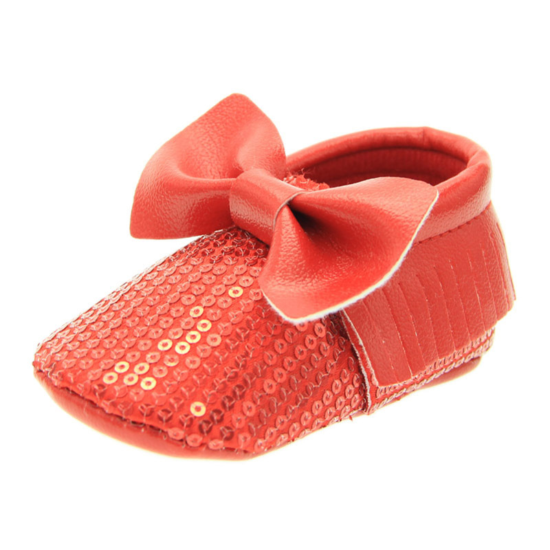 Fashion Gorgeous Red Sequined Baby Shoes Soft Soled Non Slip Infants First Walkers Newborn Bow Moccasins Baby Christmas Gift