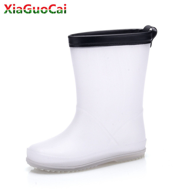 New Arrivals Kids White Rain Boots Girls Boys Children Rainboots Cute Waterproof Light Non-slip Rubber High Quality Shoes E33 20
