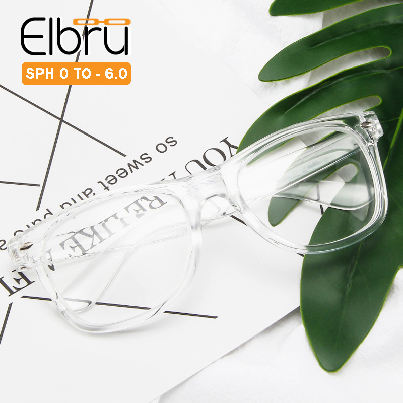 Elbru готовой близорукость очки Для женщин Для мужчин студент прочрачная оправа, очки от близорукости диоптрий 0-1,0 1,5 2,0 2,5 3,0 3,5 4,0 4,5 5 5,5 6