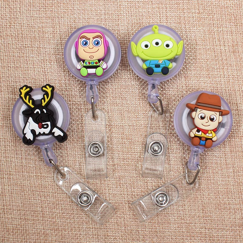 Creative Cartoon Deers Retractable Badge Holder Reel Exhibition Enfermera Students Girls Name PU Card Hospital Office Chest Card