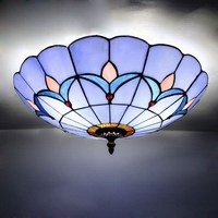 Vintage European Style Stained Glass Ceiling Lighting Night Lamp Fixture Flush Mount Restaurant Bar Home Decoration