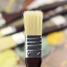 4Pcs/Set Fine Pig Bristle Hair Paint Brush Wooden Handle Art Acrylic Brushes For Wall Painting Artistic Oil Paintbrush Tassels