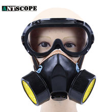 Working Chemical Respirator Double Cartridges Filter Cotton Chemical Respirator Anti-Dust Mask Verf Filter And Eye Goggles Black