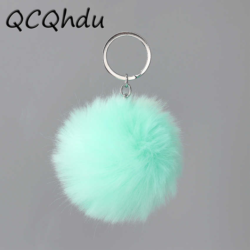 1PC Lovely Fluffy Fur Ball Chain Key Rings Pendant Cute Hairball Artificial Pompom Women Keychain Car Ornaments Bag Accessories