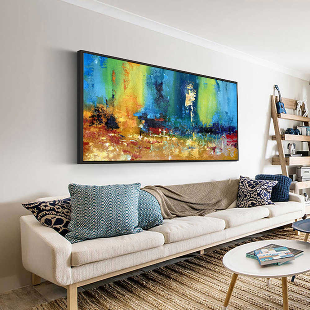 large paintings for living room wall oil painting canvas art turquoise  abstract painting laminas de cuadros pared decorativas