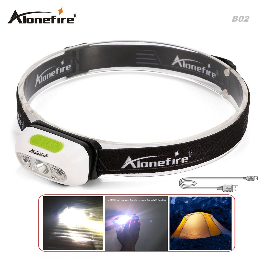 AloneFire MT-B02 Induction led head lamp CREE XPE headlamp USB Headlight waterproof head torch Built-in lithium battery lights цена