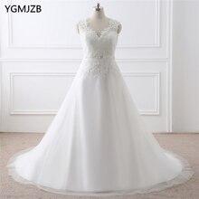 Vestido De Noiva Putih Gaun Perkahwinan Ivory Plus Saiz A Line manik Appliques Lace Cap Lengan Pengantin Pakaian Gaun Perkahwinan